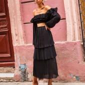 """Sonita black top & Guava pleated skirt @mallorythelabel SS20 """"Havana moon"""" available in store . . .DM to shop #newcollection #summer2020 #instashopping #smallboutique #greeksesigners"""